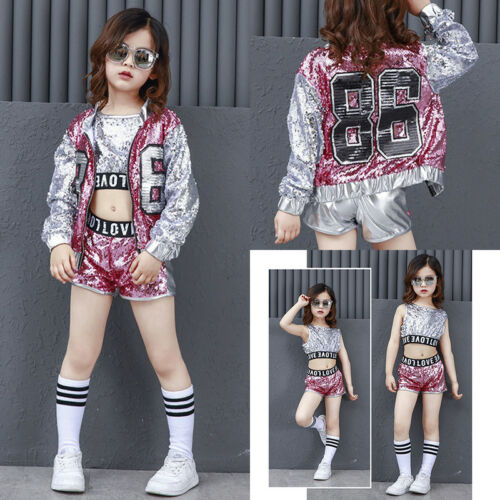 Kids Hip Hop Clothes Street Dance Wear Costume Girls Performance Sequins Modern