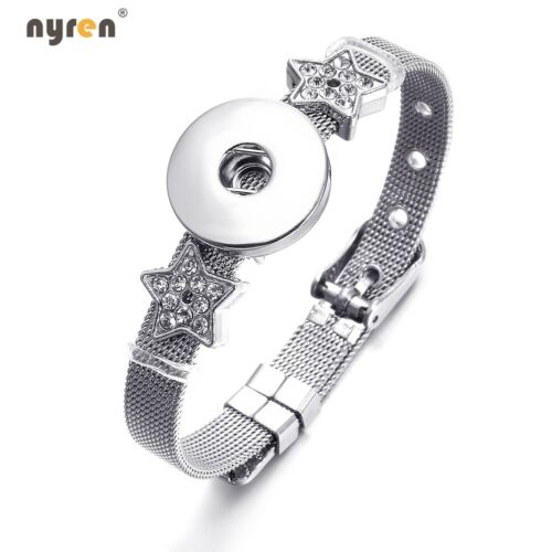 8pcs Stainless Steel Snap Charms Bracelet Snap Jewelry Fit 18-20mm Snap Button
