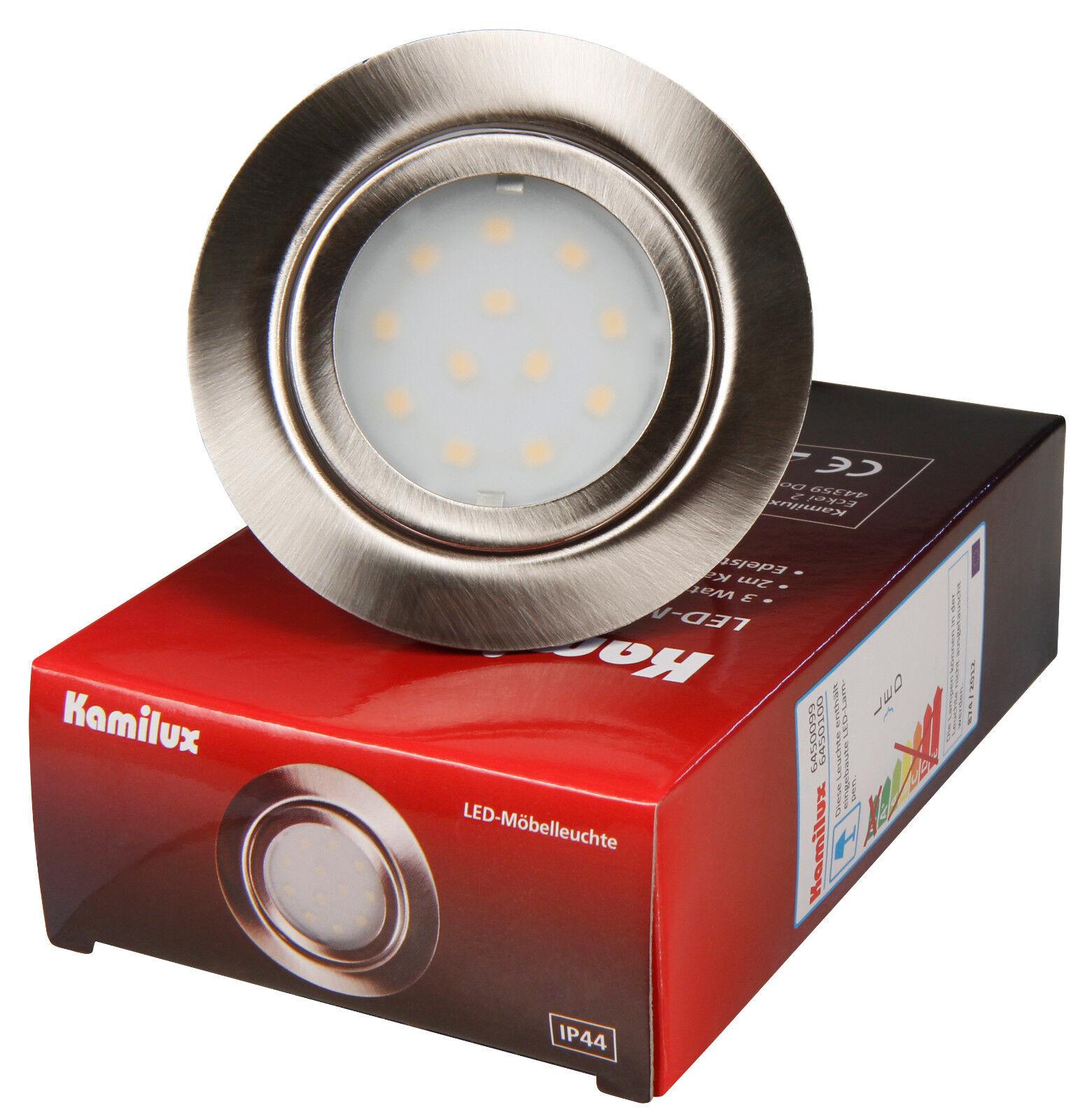1 - 20er Möbeleinbauspot 12V LED Mobi 3W = 30W Warmweiss ohne Trafo