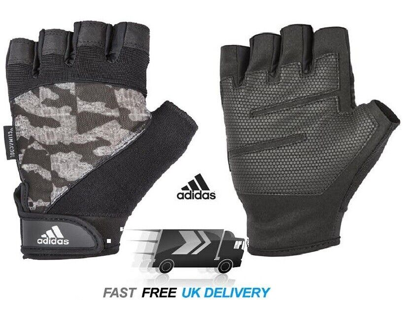 Mens Adidas GYM Gloves XL Climacool Training Cross Fit Weight Lifting CAMO
