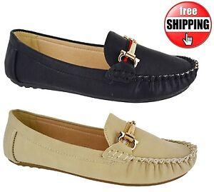 Mujer-Trabajo-Escuela-Oficina-Mocasines-Zapatillas-Plano-Zapatos-de-piel-falsa