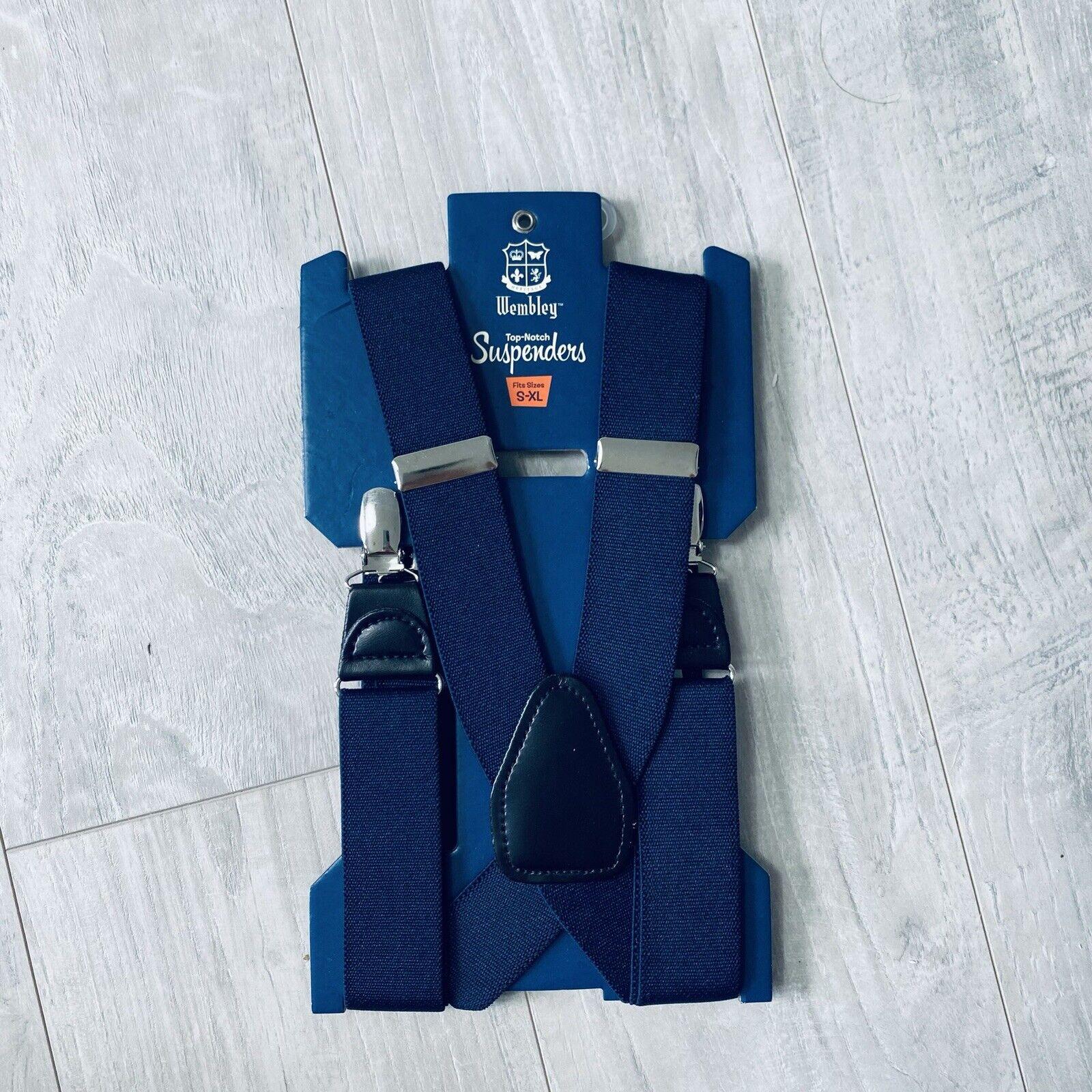 NWT Men's WEMBLEY Top-Knotch Clip On Suspenders Navy Blue, Fits S-XL
