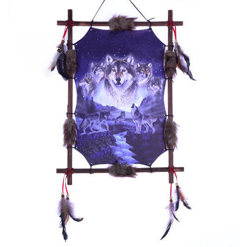 "22/""x16/"" Night Wolf Pack Loups Dream Catcher Wall Hang DECOR PLUMES cadre en bois"