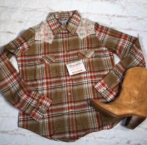 Wrangler-Womens-Western-Shirt-Sz-Medium-Plaid-Pearl-Snap-Buttons-Lace-NWT