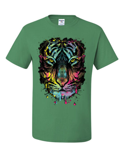 Neon Tiger T-Shirt Multicolor Dripping Tee Shirt
