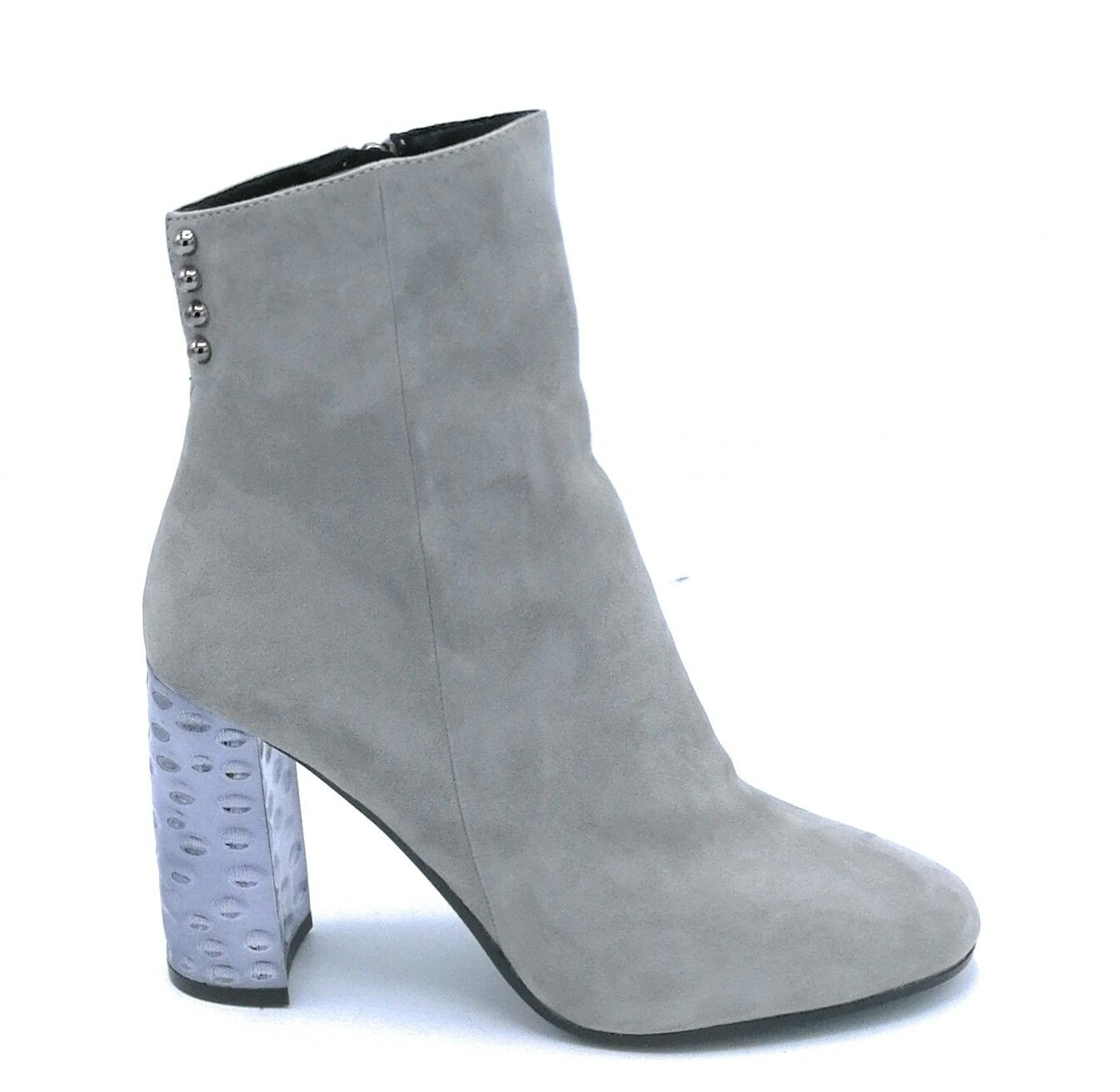 Bruno Premi U1401 Ankle Boot Suede Grey Zipper Studs Heel 9cm