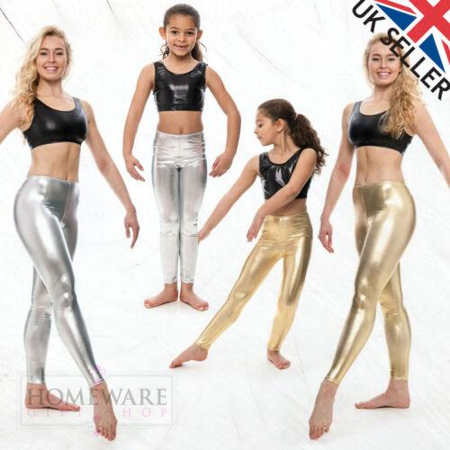 LADIES 16UK KIDS LADIES SILVER OR GOLD LEGGINGS ANKLE LENGTH WET LOOK SIZE 5Y