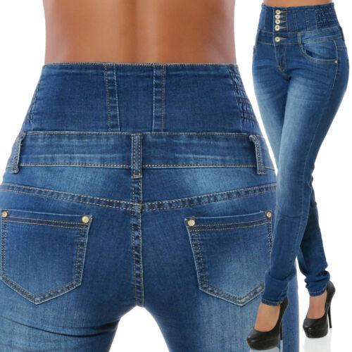 Damen Jeans Hose Röhrenjeans Röhre Hochschnitt Hoher Bund Corsage Skinny Stretch