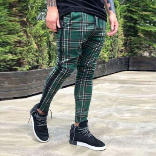 Fashion Men/'s Slim Fit Trouser Skinny Stripes Lattice Plaid Stretch Pencil Pants