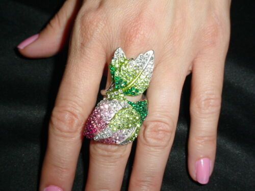 2 COLORS AVAILABLE Beauty Crystal Blooming Pink Rose Ring SIZE 6