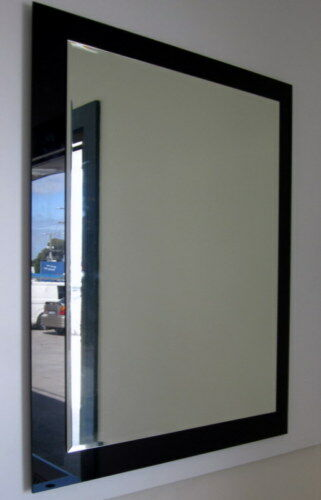 Designer 750x600mm Bevelled Edge Black Mirror