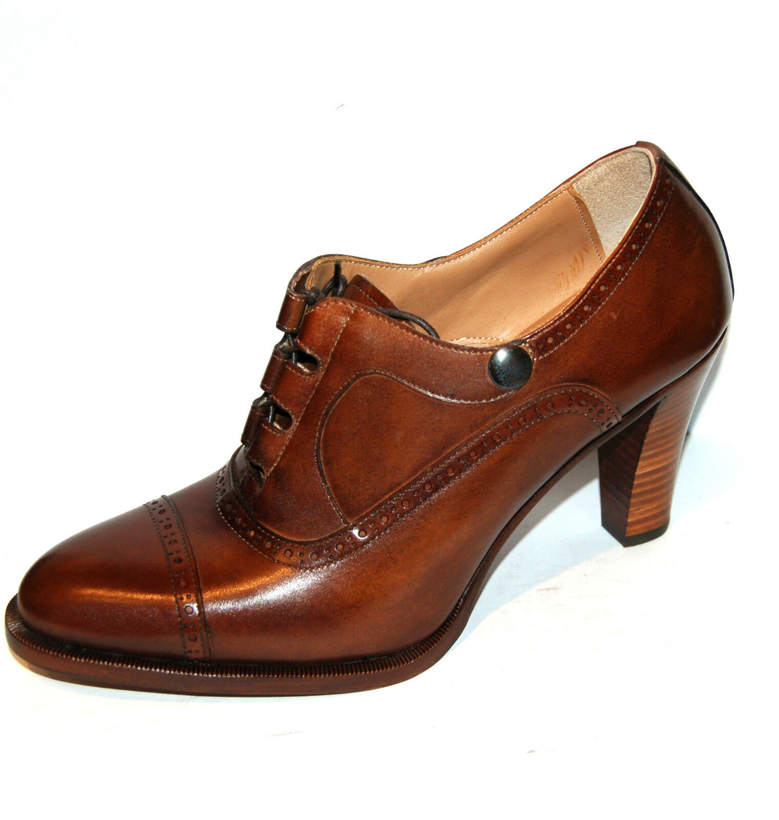 37 eu - WOMAN OXFORD CAPTOE - COCOA CALF - LEATHER SOLE