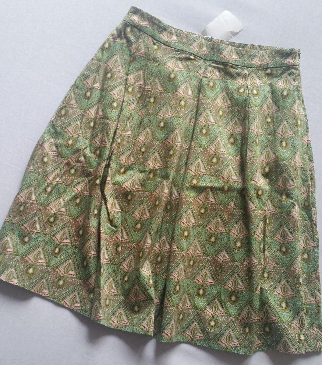 Hallhuber Skirt Pleats Green Multicolour Size 34 New