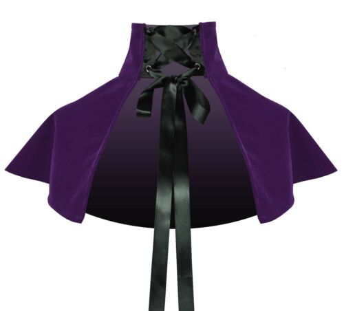 Victorian Gothic History Steampunk Pirate Lolita Velvet Lace-Up Collar Capelet