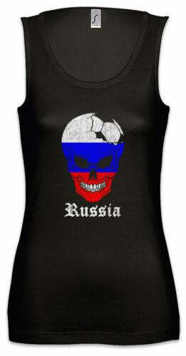 Russia Football Skull I Damen Tank Top russische Flagge Fahne Fußball Russland