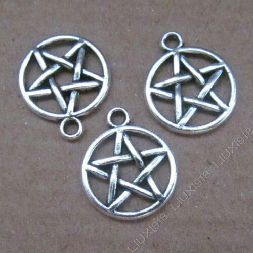30pc Small Pendant Charm Pentagram Star Pendant Tibetan Silver Accessories V629