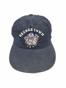 RARE-GEORGETOWN-HOYAS-CORDUROY-SNAPBACK-HAT-VINTAGE-MADE-IN-USA-UNIVERSITY-SQUAR
