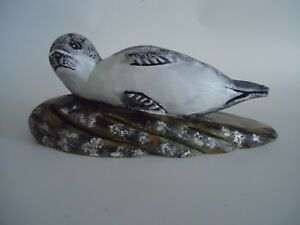 New-England-Home-Decor-Country-Hand-Carved-Harbor-Seal-Carving-Wood-Maine-Art