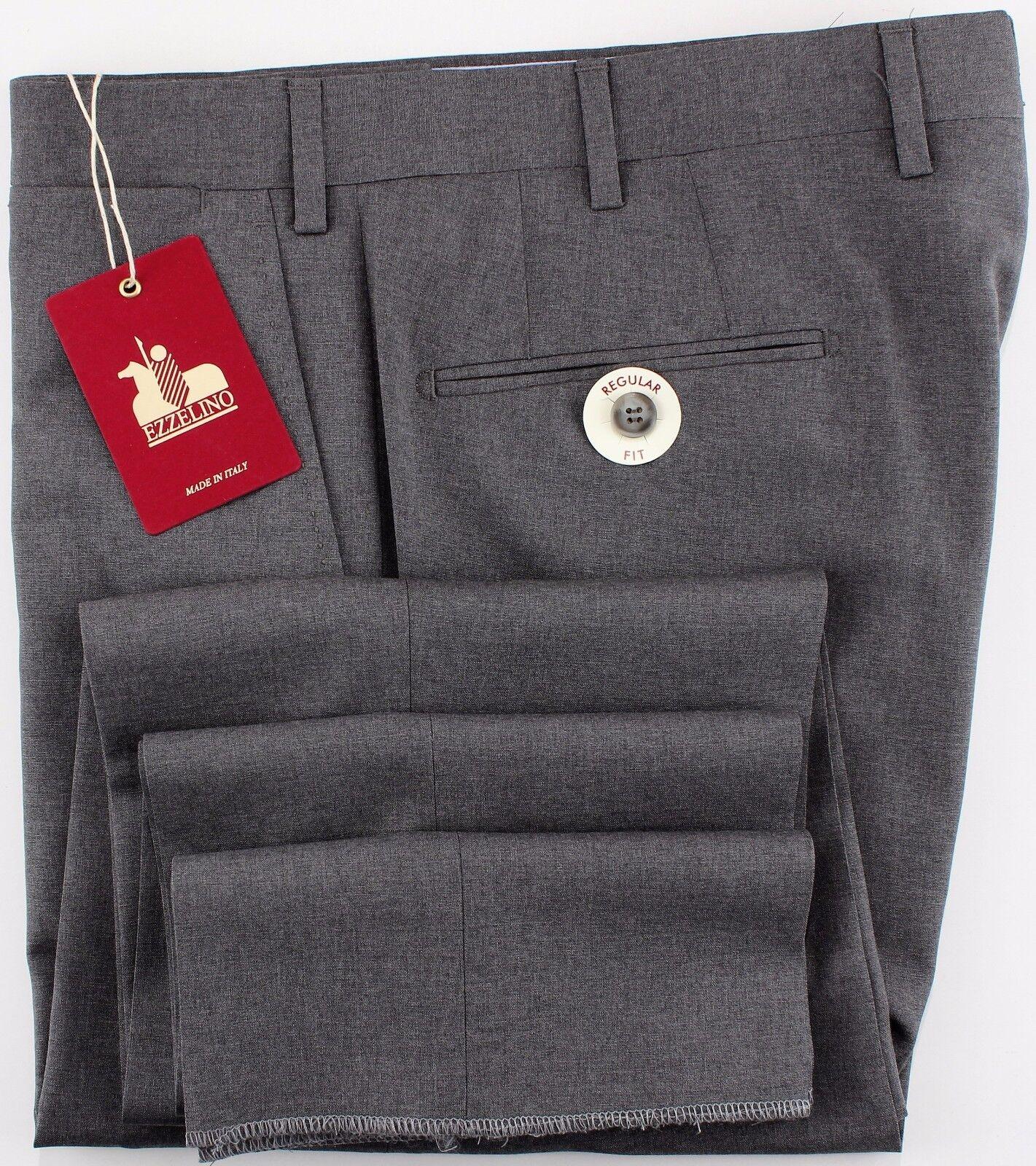NWT 299  EZZELINO DRESS PANTS Cerruti wool Summer grey handmade  eu54 us 38