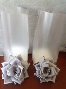 BNIB-Set-4-2-x-Silver-Satin-Wedding-Handmade-Roses-1-brooch-1-hair-Clip