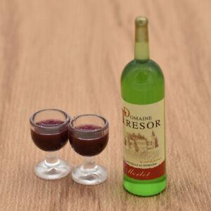 Puppenhaus-Zubehoer-Esszimmer-Mini-Weinflasche-Weinglas-Set-Puppenstube-Deko-Fein