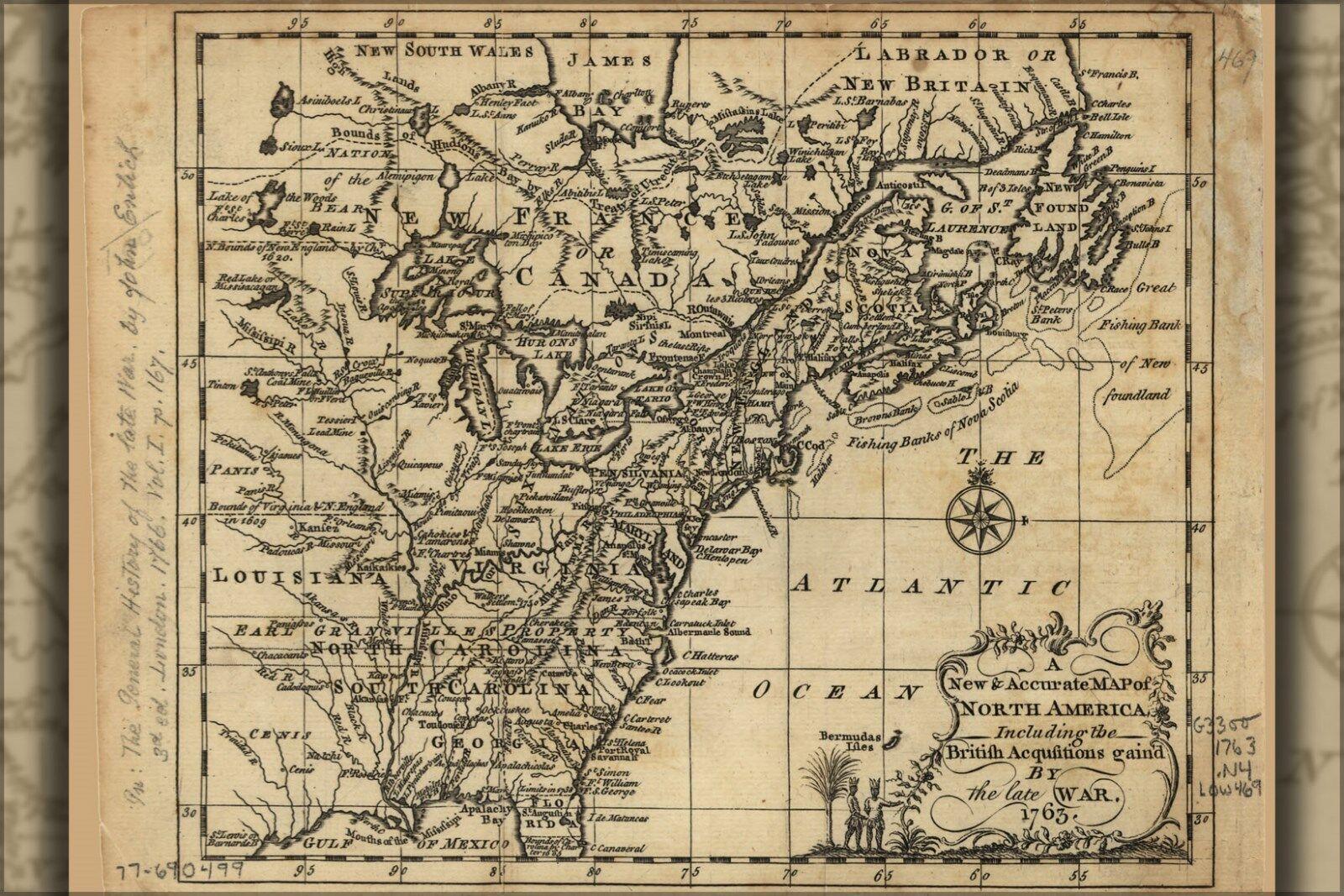 Poster, Molte Molte Molte Misure; Mappa Del Nord America Stati Uniti 1763 e9c174