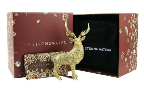 JAY STRONGWATER FOSTER GOLDEN STAG FIGURINE 18K GOLD PLATED SWAROVSKI NEW BOX
