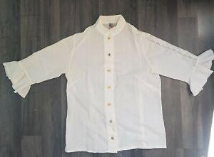Femme-Alphorn-Shirt-Top-Vintage-allemand-taille-S-blanc-tres-bon-etat-Authentique