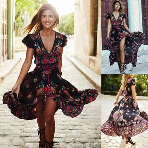 Summer-Women-Beach-Boho-Long-Maxi-Evening-Party-Dress-Floral-Sundress-Plus-Size