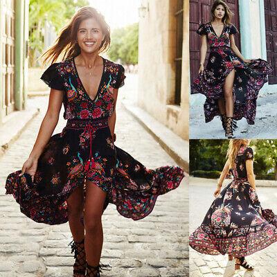 Womens Boho Long Dresses Ladies Summer Beach Party Floral Maxi Dress Plus Size