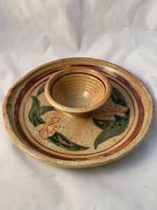 Vintage-Large-Ceramic-Pottery-Art-Flowers-Chips-amp-Dip-Serving-Bowl