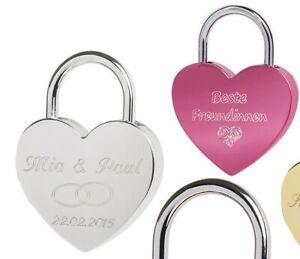 Liebesschloss Herzschloss mit Gravur und Schl/üssel ohne Gravur, pink