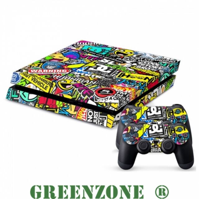 Sticker Bomb Vinyl Sticker Set for Playstation 4 PS4 Console and 2 Controllers