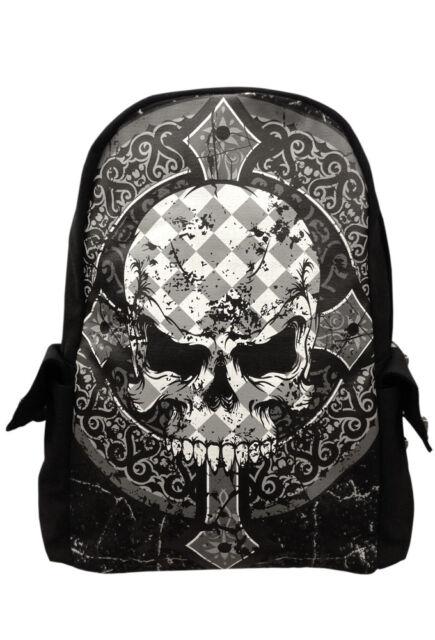 Banned Men's Skull Backpack Rucksack Check Gothic Punk School Bag Waterproof