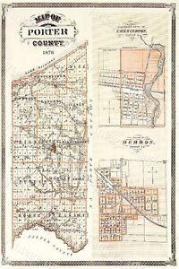 Historic 1876 Wall Map Of Porter County Indiana Chesterton Hebron