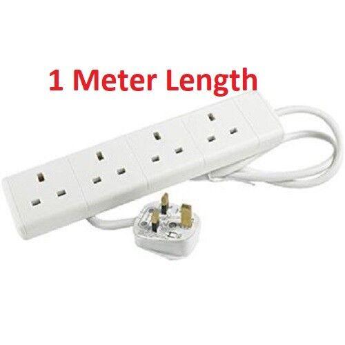 4 Way 4 Gang extension lead complément de plomb 1M//2M//5M//3PIN 4 Douilles//Gang 13 A Plug