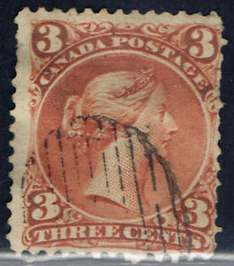 Canada-25-1-1868-3-cent-red-Queen-Victoria-FINE-DUPLEX-Cancel-CV-20-00