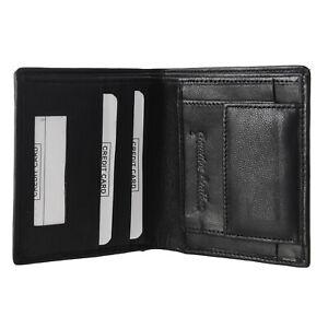 Genuine Leather Men/'s Bi fold Wallet Slim Cowboy Black Credit Card Coins Holder