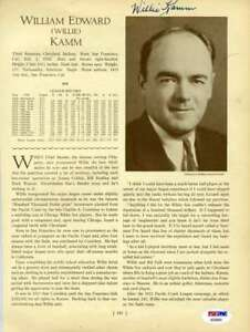 Willie Kamm Psa Dna Coa Autograph 1933 Who`s Who 8x10 Photo Page Signed