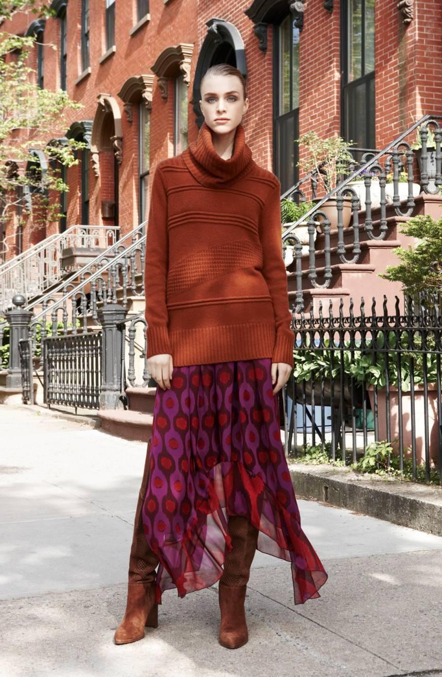 NWT Diane von Furstenberg Louella Silk Maxi Skirt lila Ikat  328 – L