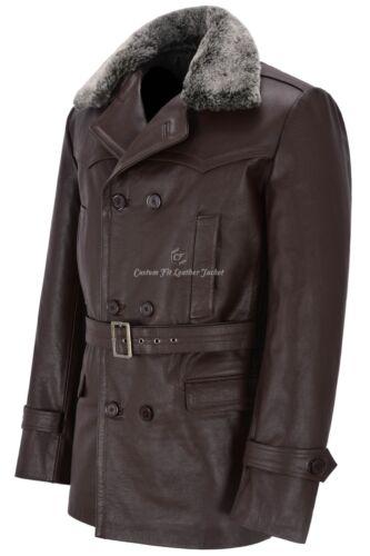 Military Coat Leather Who Fur Hide Men Pea Collar Dr Jacket German Brown Classic q10Ef