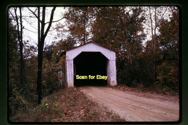 Covered Bridge in Fountain County Indiana in 1968, Original Slide aa 3-15b