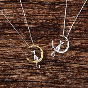 Mignonne Lune Chat Colliers Pendentif Animaux Femmes Chaîne simple Bijoux Cadeau