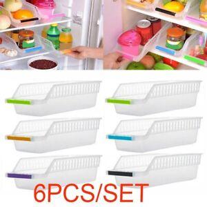 6  PCS Kitchen Fridge Space Saver Organizer Slide Shelf Rack Holder Storage Box
