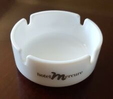 """HOTEL MERCURE-VINTAGE ROUND MILK GLASS ASHTRAY-MADE IN FRANCE-3.25"""" DIAMETER"""