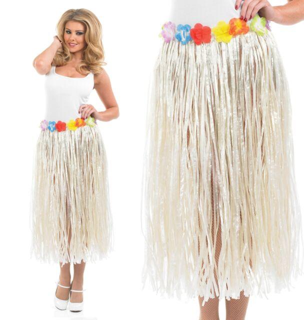 ce74f23a7fa Ladies Hawaiian Hula Girl Grass Skirt Fancy Dress Costume 24-50