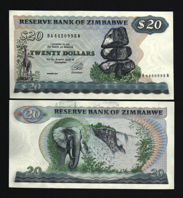 ZIMBABWE 20 Dollars 1994 GIRAFFE ELEPHANT UNC RHODESIA CURRENCY MONEY BANK NOTE