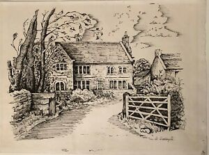 Vintage-Ink-Drawing-of-a-Country-House-Farm-Signed-M-Waddington