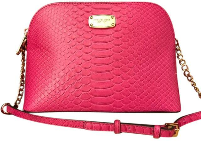b4eea166ad1b Michael Kors Cindy Large Dome Embossed Pink Leather Cross Body Bag Emmy NWT
