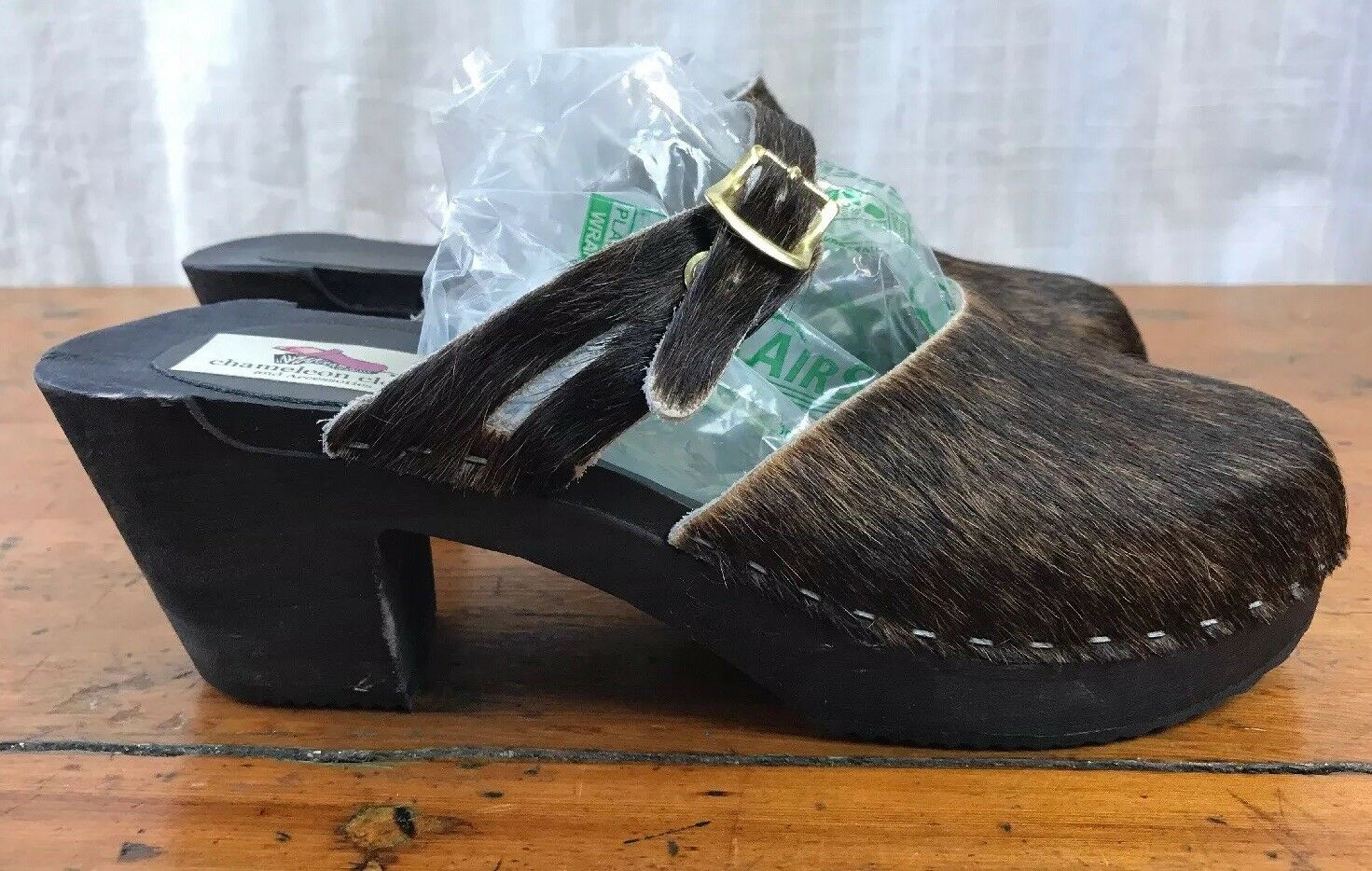 Chameleon Clogs Brown Calf Hair Heeled Heeled Heeled Clog Strap Sandals EU41 US 9.5-10, USA 78a219